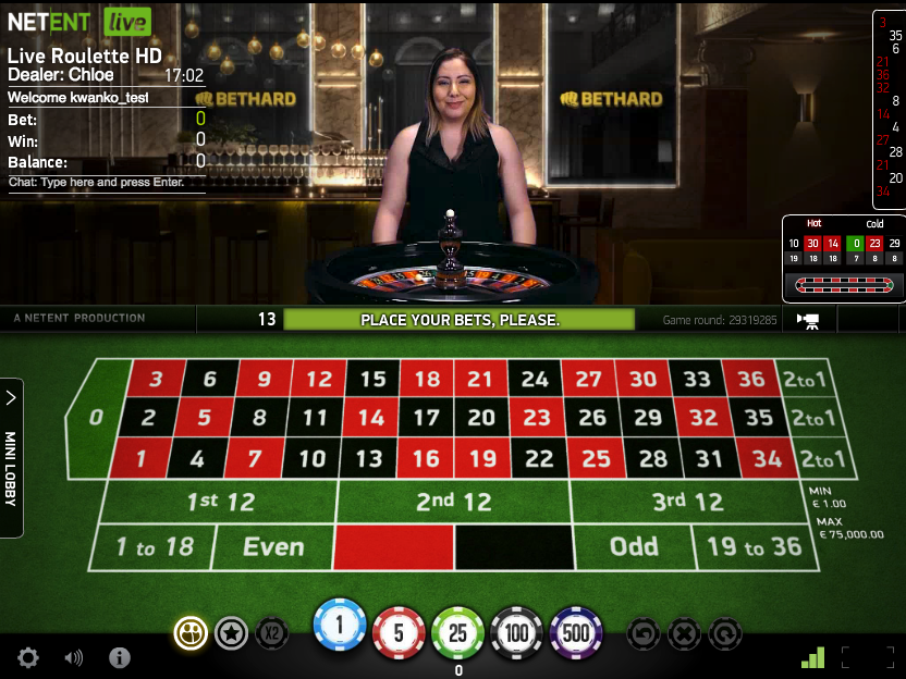 Bethard Exclusive live casino tables